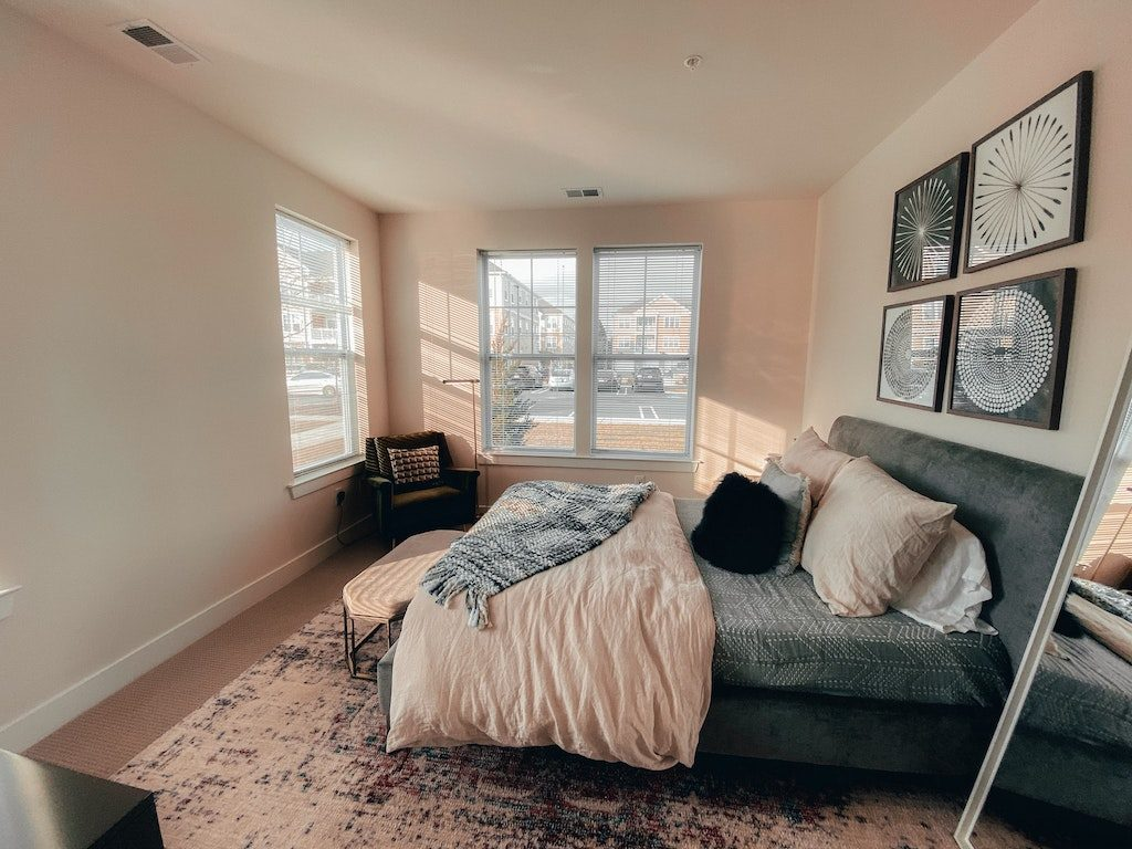 white and black bedroom